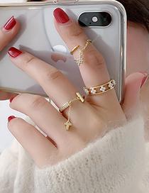 Fashion Pearl Models Pearl Micro Inlaid Zircon Moon Star Cross Open Ring