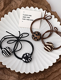 Fashion Brown (striped Section) Leopard Print Knotted Round Hair Rope