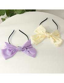 Fashion Purple Fabric Big Bow Solid Color Hair Band