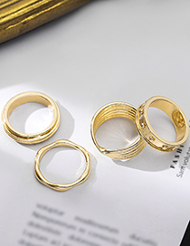 Fashion No. 8 Wave Pattern Glossy Irregular Geometric Concave-convex Rings Without Pierced