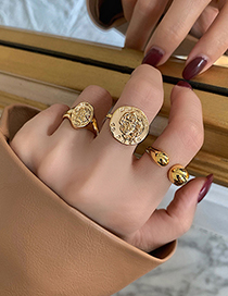 Fashion Open Ring Embossed Alloy Hollow Line Open Ring