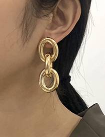 Fashion Gold Color Alloy Hollow Round Earrings