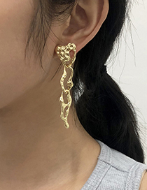 Fashion Gold Color Alloy Geometric Hollow Irregular Earrings