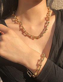 Fashion Gold Color Alloy U-shaped Chain Necklace And Bracelet Set