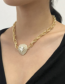 Fashion Gold Color Alloy Diamond Love Necklace