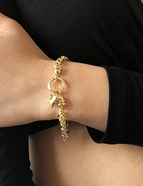 Fashion Gold Color Alloy Love Round Hollow Bracelet