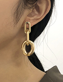 Fashion Gold Color Alloy Round Hollow Earrings