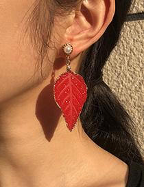 Fashion White Alloy Resin Pearl Leaf Earrings