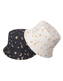 Fashion Planet Love Star And Moon Print Fisherman Hat