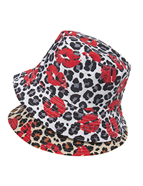 Fashion Gray Leopard Print Lip Print Double-sided Fisherman Hat