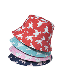 Fashion Navy Blue Swallow Print Double-sided Fisherman Hat