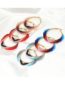 Fashion Red Gradient Rice Beads Round Handmade Woven Beaded Earrings