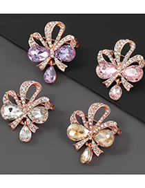 Gold Color Alloy Diamond Bow Flower Brooch