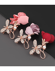 Pink Alloy Diamond Pearl Butterfly Rose Brooch
