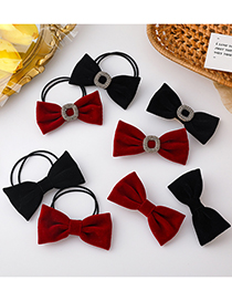 Fashion Black (rhinestone Bow Hairpin) Bowknot Diamond-studded Fabric Hairpin Hair Rope
