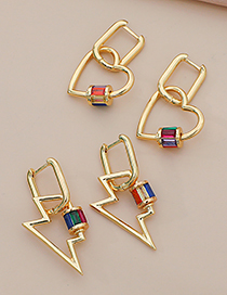 Fashion Gold Color Copper Inlaid Zircon Geometric Earrings