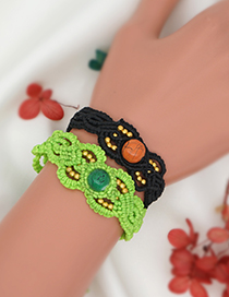 Fashion Black 2 Wax Rope Handmade Natural Stone Beaded Bracelet
