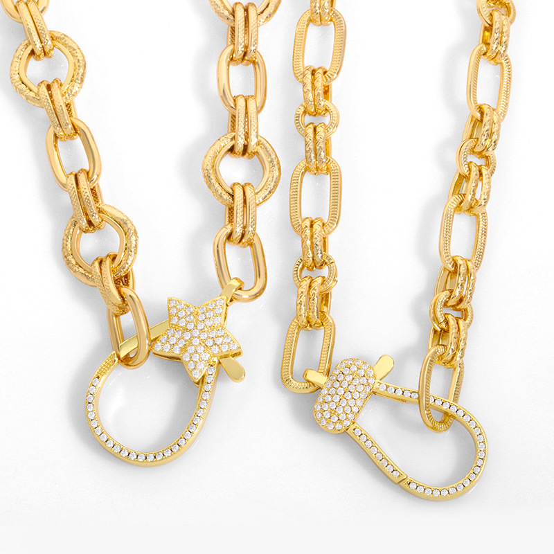 Fashion Lobster Clasp Pentagram Thick Chain Lobster Clasp Necklace