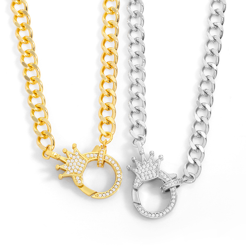 Fashion Silver Color Gold-plated Copper Necklace With Diamond Crown Pendant