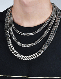 Fashion Steel Color 1.6*60cm Stainless Steel Thick Chain Necklace