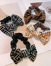 Fashion Beige Printed Abstract Musical Note Small Bow Fold Hair Rope