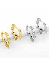Fashion Silver Color Geometric Diamond And Rivet Copper Plated Earrings