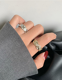 Fashion Silver Color Checked Cross Geometry Adjustable Open Ring