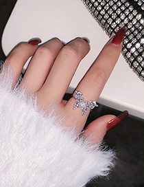 Fashion Silver Color Butterfly Micro-set Zircon Pearl Ring