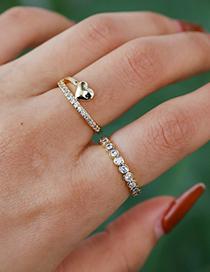 Fashion Gold Color Copper Inlaid Zircon Love Ring