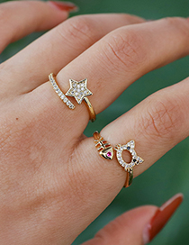 Fashion Gold Color Copper Inlaid Zircon Five-pointed Star Ring