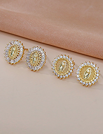 Fashion Gold Color Copper Inlaid Zircon Portrait Earrings