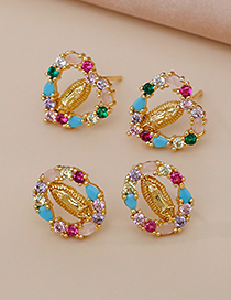 Fashion Gold Color Copper Inlaid Zircon Love Portrait Earrings