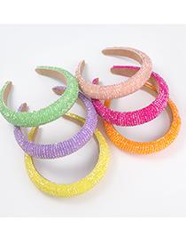 Fashion Orange Acrylic Crystal Beaded Wide Sponge Headband