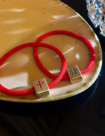 Fashion In Red Text Mahjong Fa Cai Alloy Hair Rope