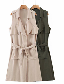Fashion Green Belted Lapel Shirt Dress