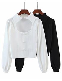 Fashion Black Loose Lapel Pullover Sweater