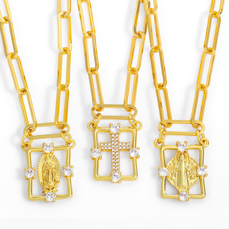 Fashion Our Lady 2 Madonna Pendant Rectangular Cross Necklace