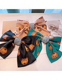 Fashion Korean Fan Bear Print Full Rhinestone Bow Hairpin