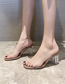 Fashion Heel Height 9 Cm Transparent Film Square Open Toe High Heel Sandals And Slippers