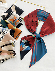 Fashion 10 Waves Of Small English Long Thin-edged Printed Letter Silk Scarf