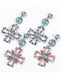 Fashion Color Alloy Diamond Resin Eye Cross Earrings
