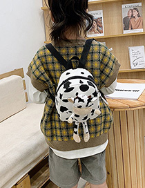 Fashion Zebra Pattern Canvas Cow Print Plush Kids Backpack