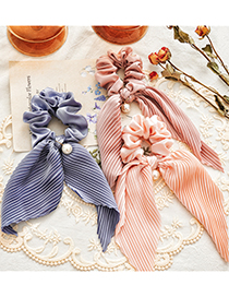 Fashion Champagne Crumpled Streamer Satin Crinkled Bunch Pearl Hair Tie
