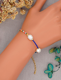 Fashion Blue Rice Bead Beaded Pearl Bracelet