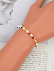 Fashion Gold Color Pearl Colorful Glass Eye Bead Bracelet