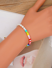 Fashion Section 1 4mm Rainbow Soft Pottery Pearl Beaded Bracelet