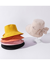 Fashion Orange Bowknot Embroidered Big Edge Sunscreen Beach Hat