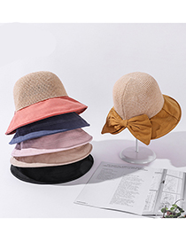Fashion Beige Knitted Stitching Bow Sunhat