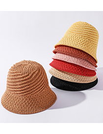 Fashion Pink Pure Color Linen Knitted Spiral Stitching Sun Hat