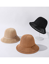 Fashion Korean Fan Solid Color Tethered Bowknot Sunscreen Hat